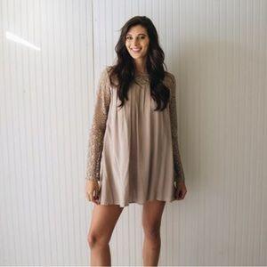 Copper Closet tan lace sleeve dress